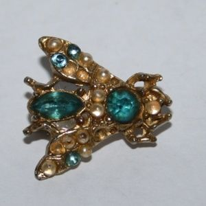 Vintage gold pearl and blue bug brooch